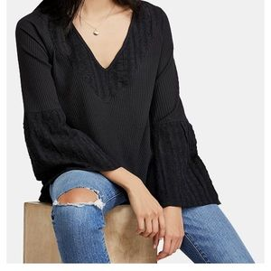 Free People Black Peasant Shirt with Bell Sleeves